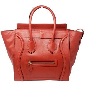 Auth Celine Luggage Micro Red Leather Hand Bag